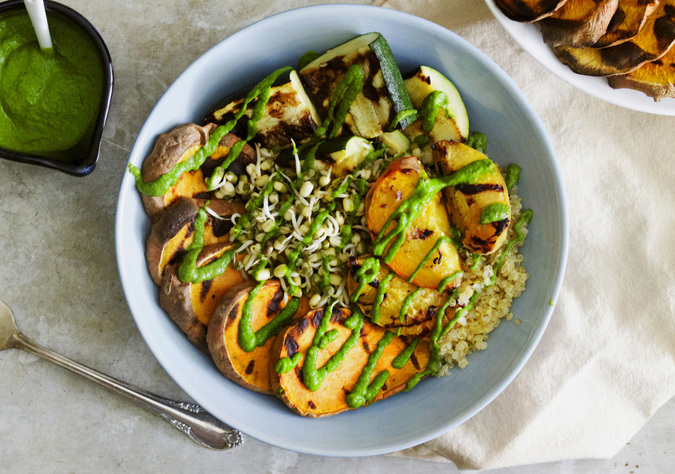 Endless Summer Buddha Bowls with Grilled Peaches & The Greenest Dressing