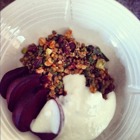 Roasted Beet & Lentil Salad with Walnuts