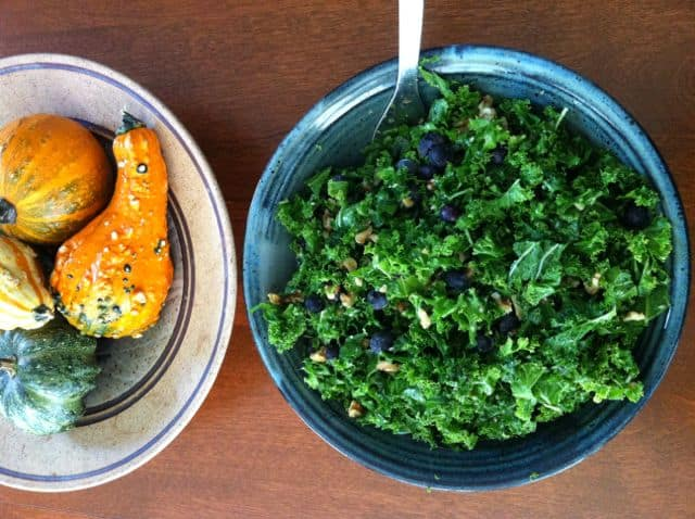 Raw Kale Salad with Blueberries & Walnuts