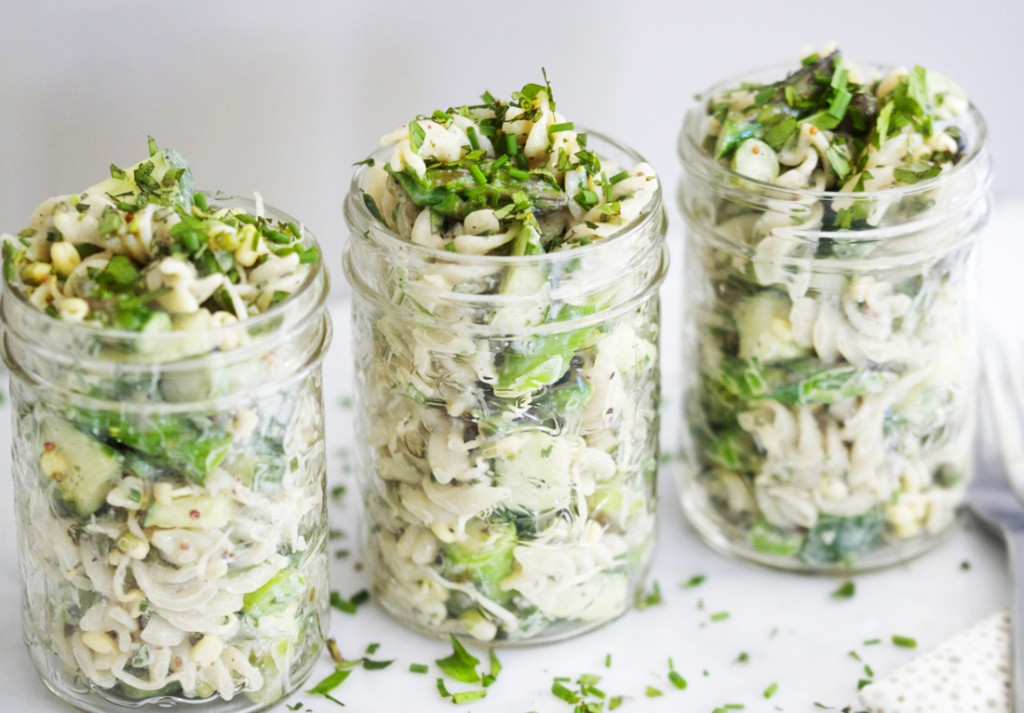 Buddha's Pasta Salad with Asparagus, Sprouts & Tahini Dressing