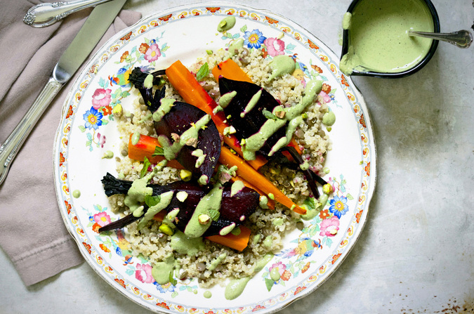 Roasted Root Vegetables with Quinoa & Pistachio Cream Sauce - Vegan