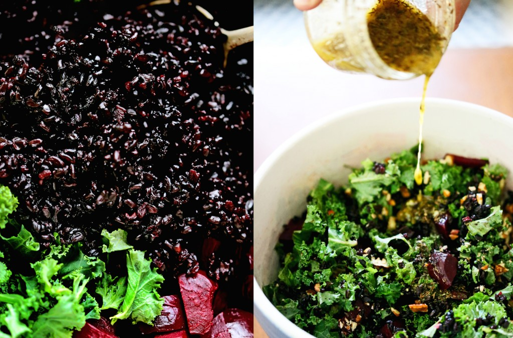 Black Rice, Beet & Kale Salad with Cider Flax Dressing