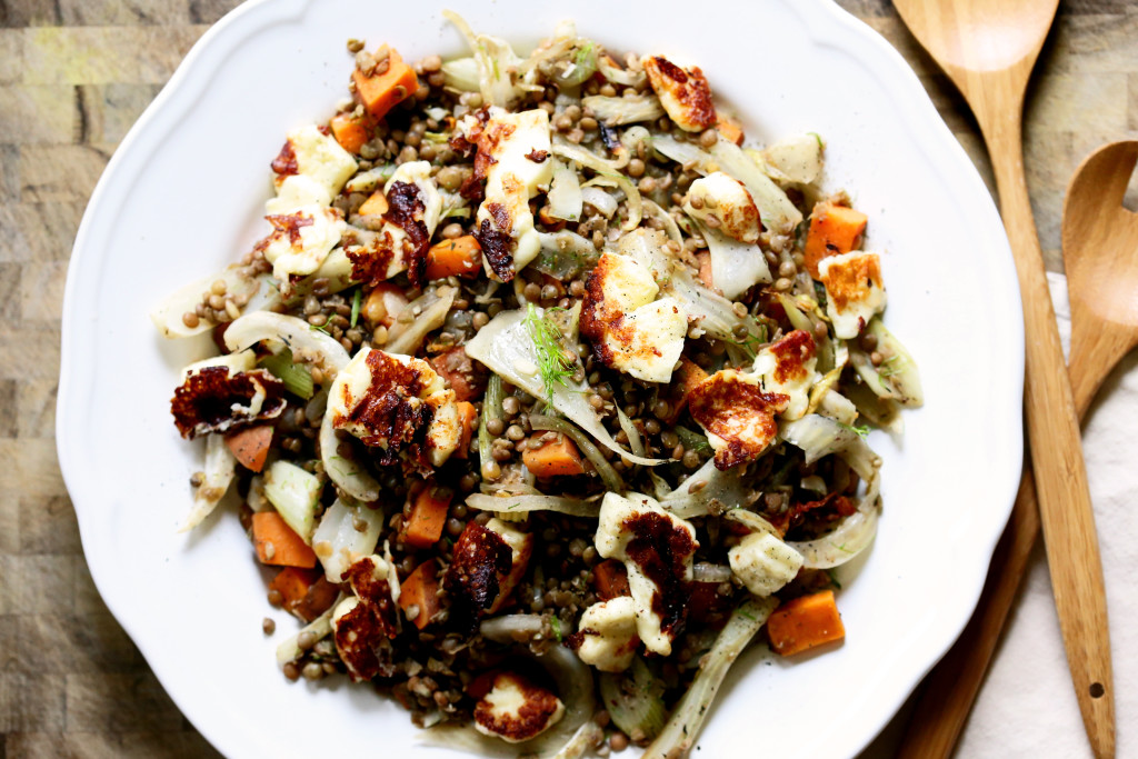 Warm Lentils with Fennel and Halloumi