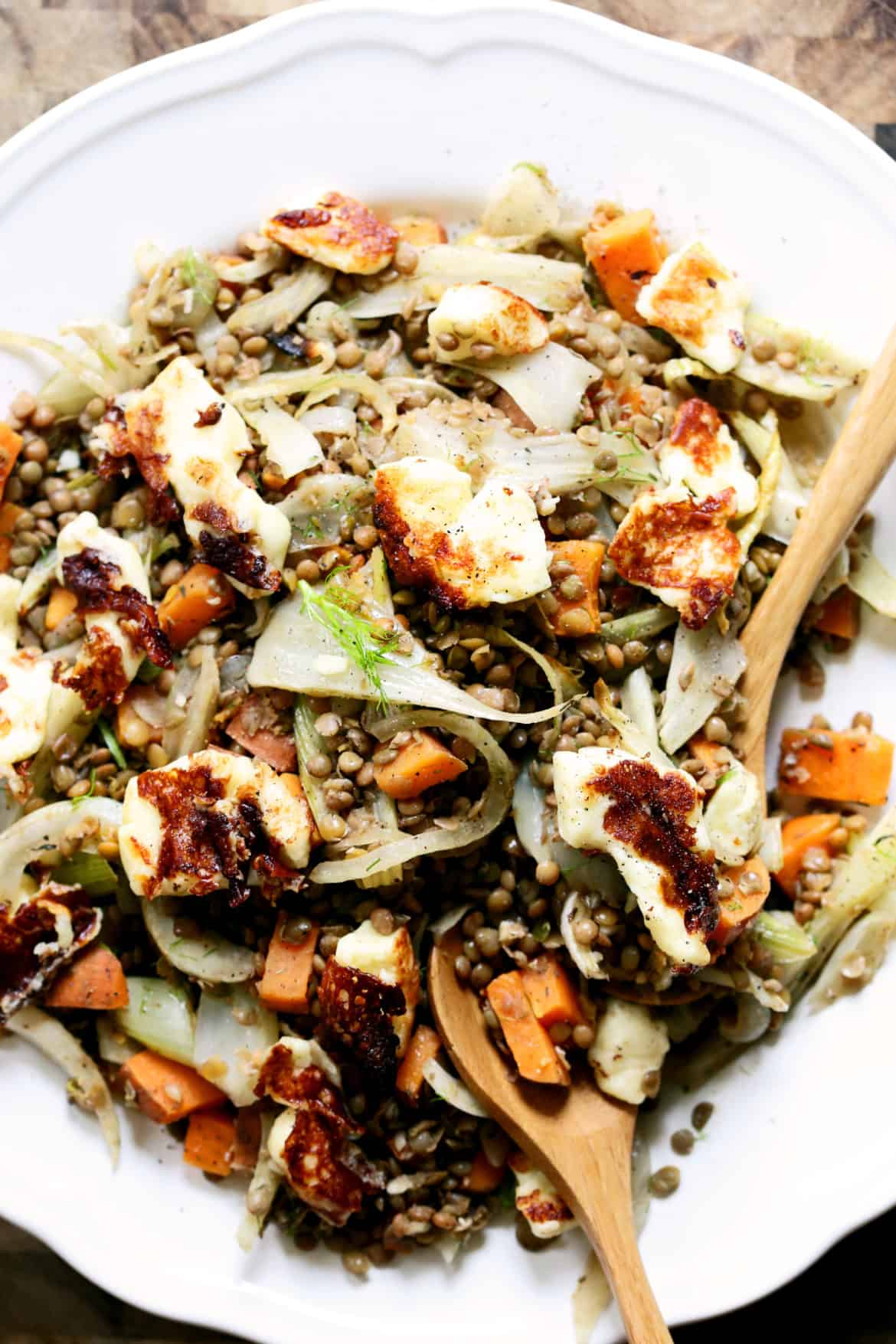 Warm Lentils with Fennel, Sweet Potatoes, and Halloumi