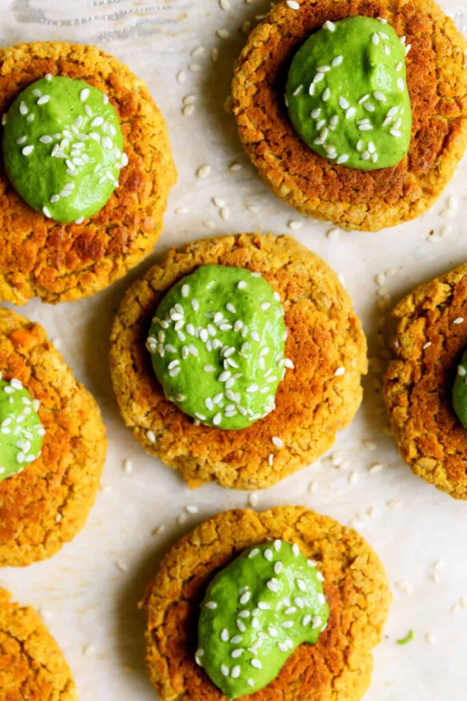 Baked Carrot Falafel with Green Tahini | yummybeet.com