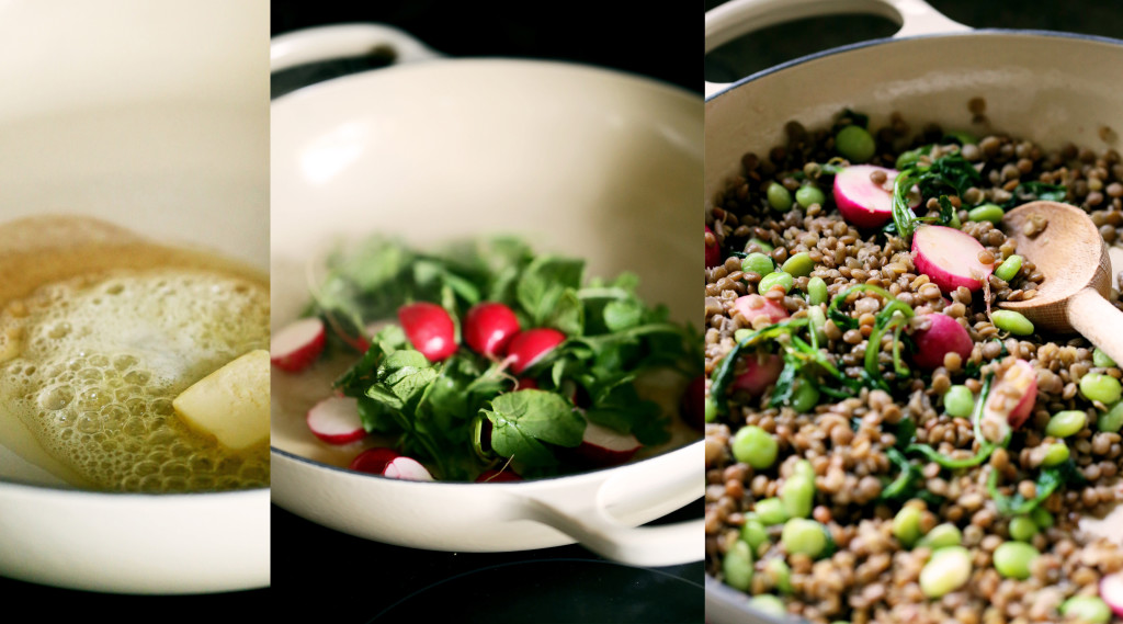 Braised Lentils with Radishes, Fava Beans & Mint