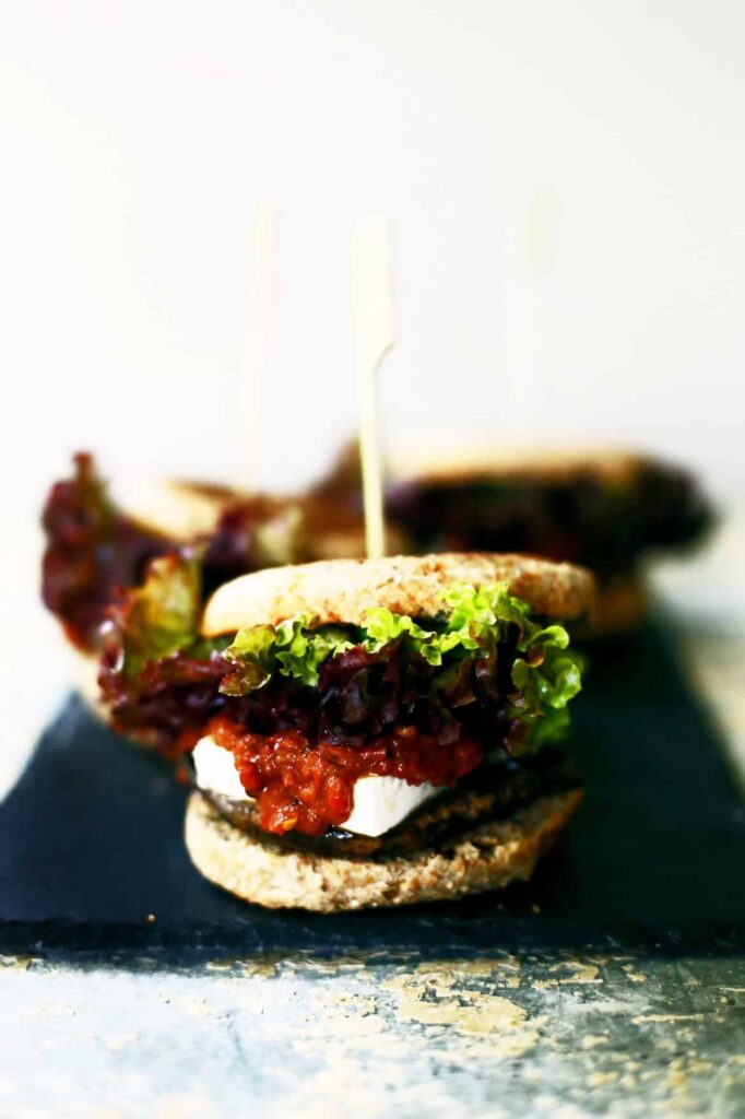 Portobello Burgers with Roasted Red Pepper Tomato Jam and Feta