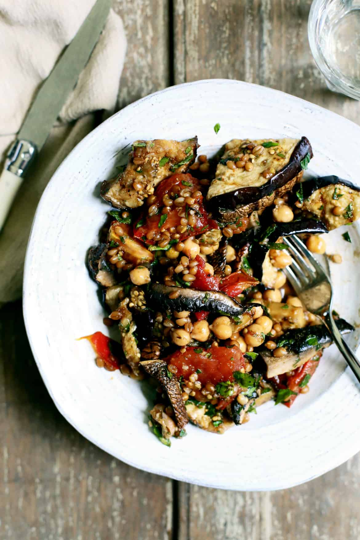 Grilled Vegetable, Wheat Berry & Chickpea Salad with Smoky Cumin Dressing
