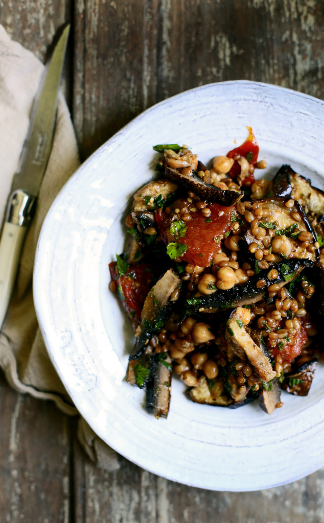 Grilled Vegetable, Wheat Berry & Chickpea Salad with Smoky Cumin Dressing via YummyBeet.com