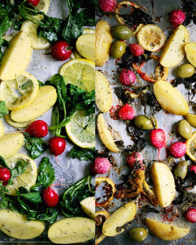 Roasted Lemons, Potatoes, Radishes, and Olives