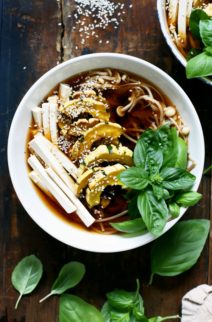 Vegan Pho Recipe with Delicata Squash & Enoki Mushrooms via YummyBeet.com