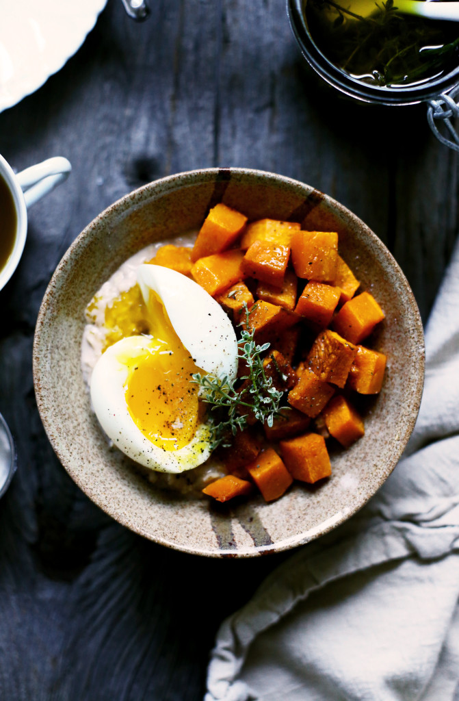 Savory Oatmeal with Squash, Soft Boiled Eggs & Herb Oil | YummyBeet.com