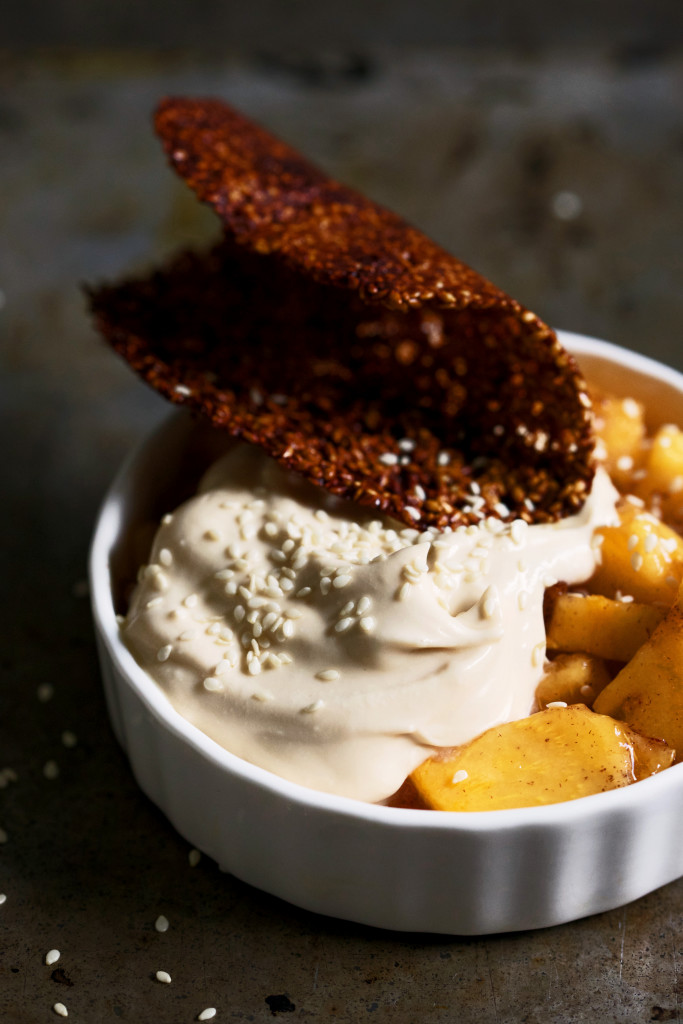 Persimmon with Coconut Dulce de Leche & Sesame Crisps