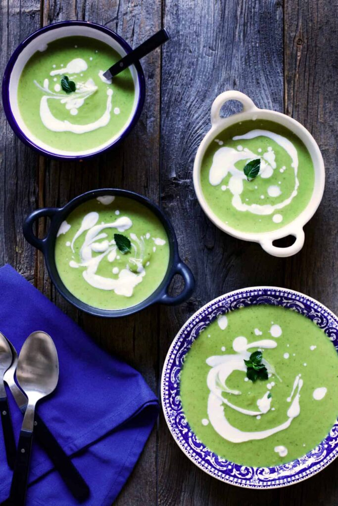 Vegan Cream of Broccoli Soup with Lemon & Mint | YummyBeet.com