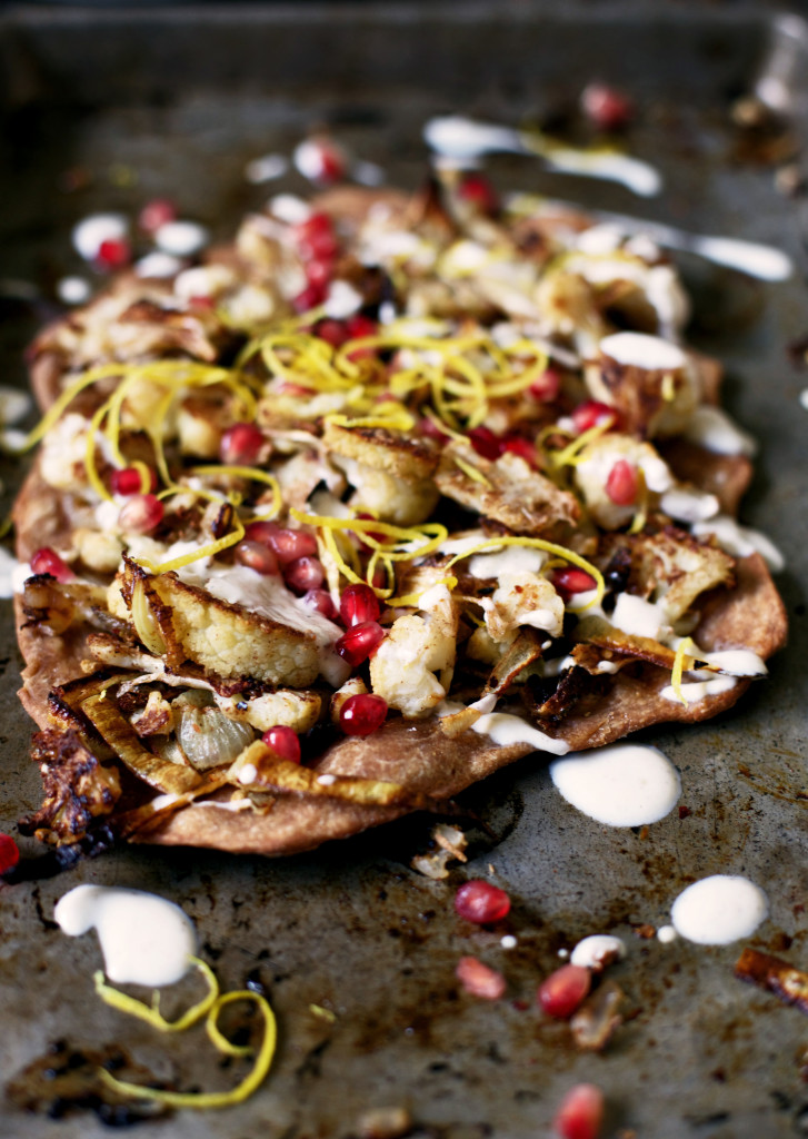 Moroccan Cauliflower Flatbread with Pomegranate, Lemon & Tahini Yogurt Dressing