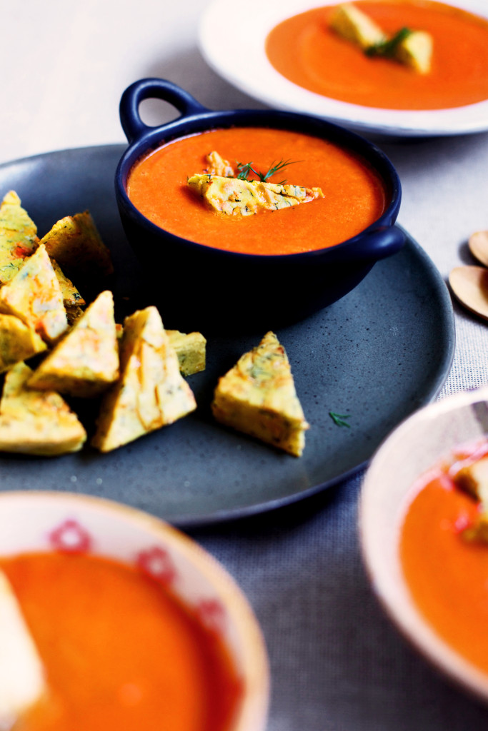 Creamy Tomato Soup with Cheddar & Dill Socca Croutons