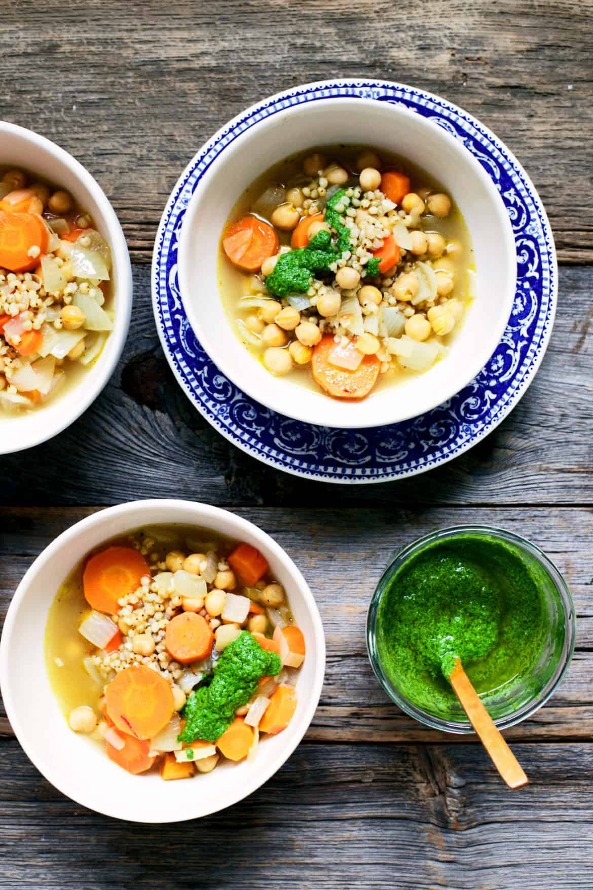 Sorghum, Chickpea & Saffron Soup with Mint Pesto