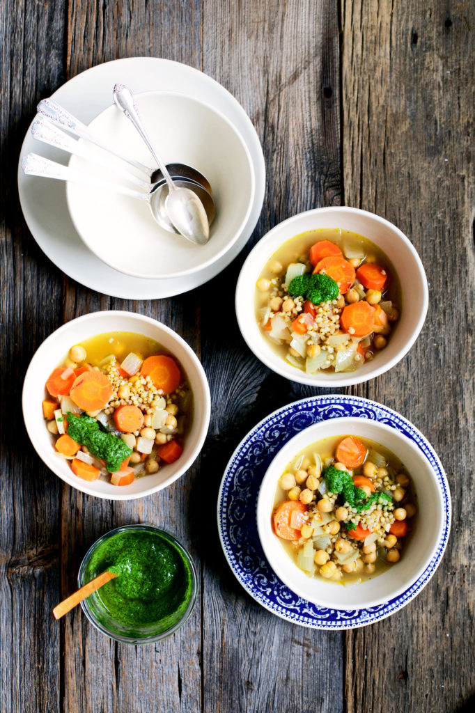 Chickpea soup recipe with sorghum and mint pesto copy