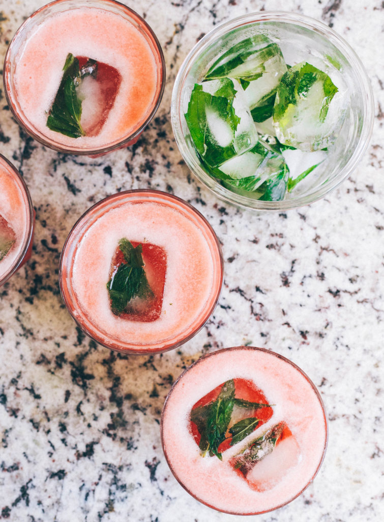 Watermelon Iced Green Tea with Ginger & Mint