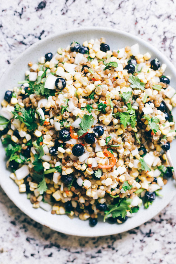 Mexican Corn, Blueberry and Lentil Succotash