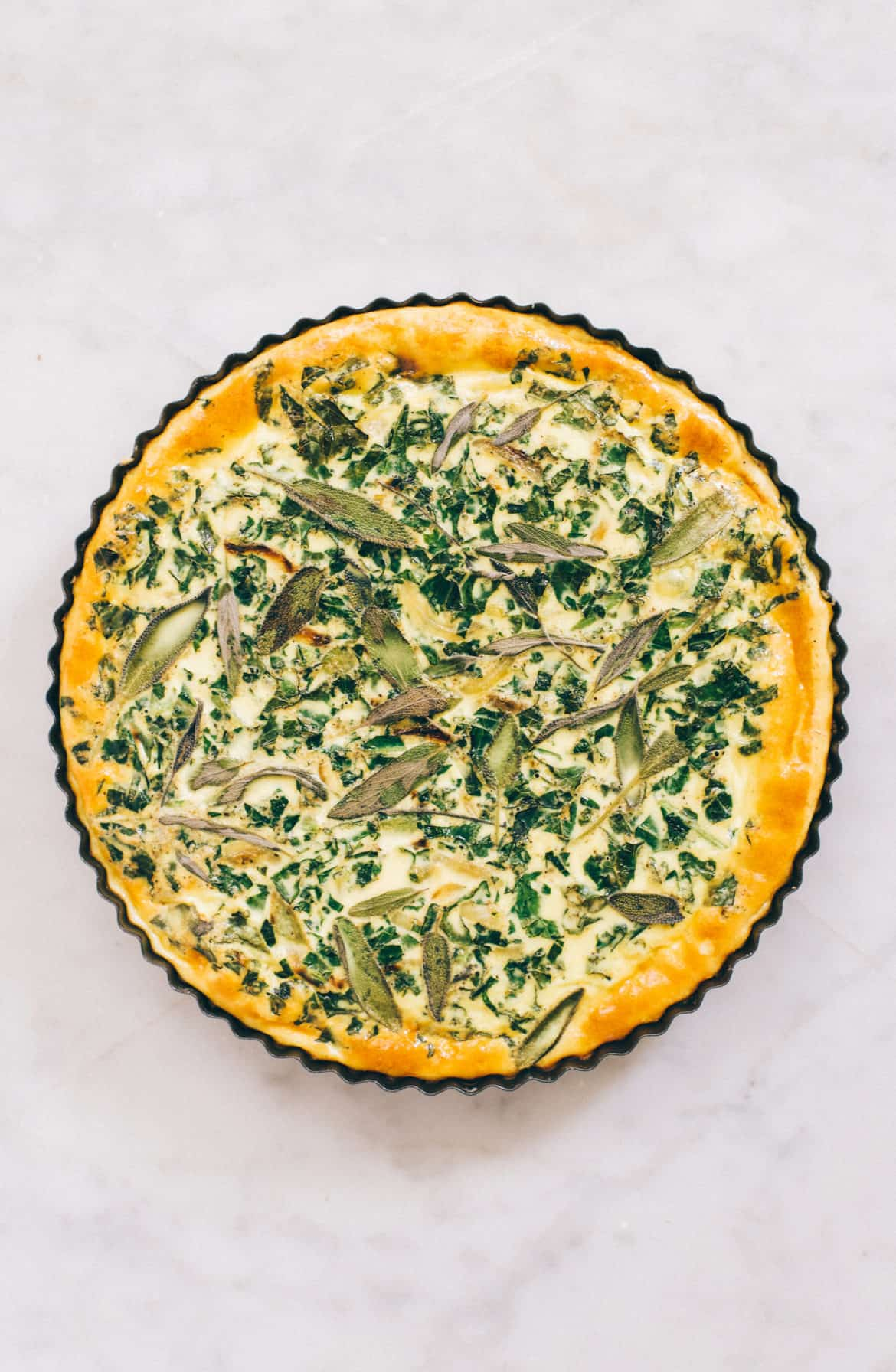 Simple Kale, Onion & Sage Quiche