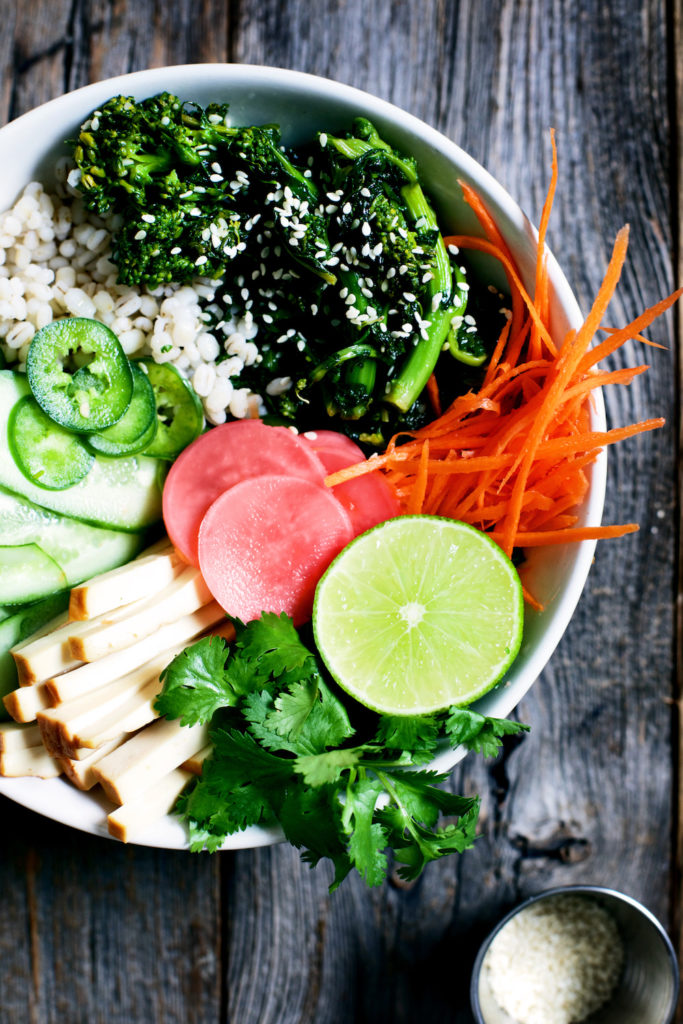 Banh Mi Barley Bowls with Seared Sesame Broccoli Rabe (+ Quick Pickles)