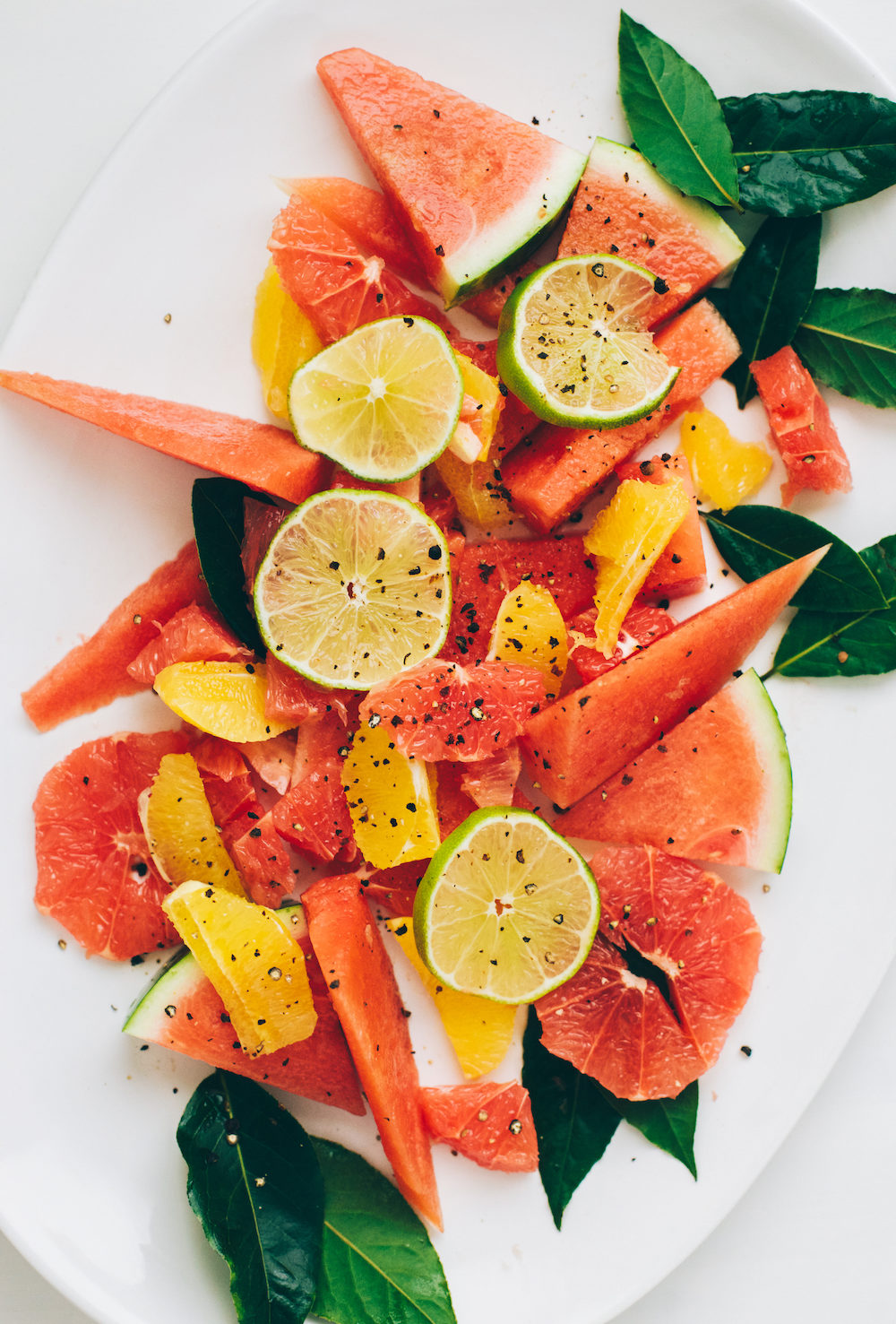 Winter Citrus Watermelon Salad with Fresh Bay Laurel