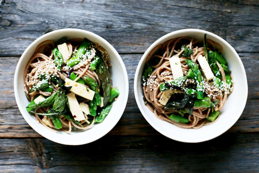 Miso Orange Sesame Noodle Salad with Thai Basil, Asparagus & Tofu