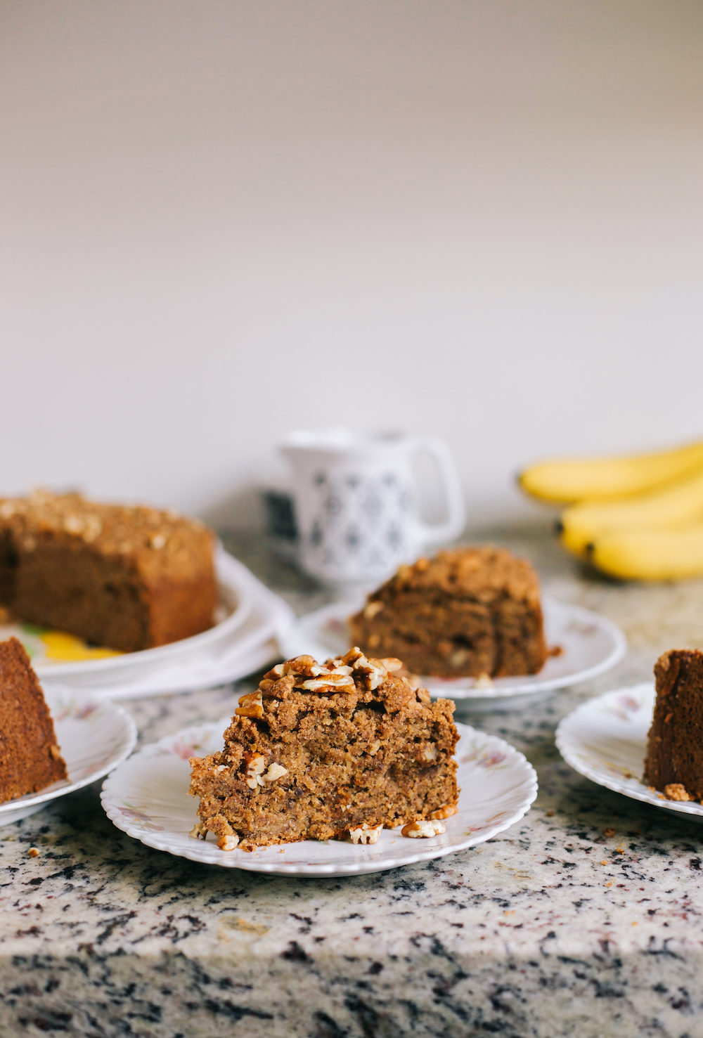Healthy Banana Coffee Cake with Pecan Streusel