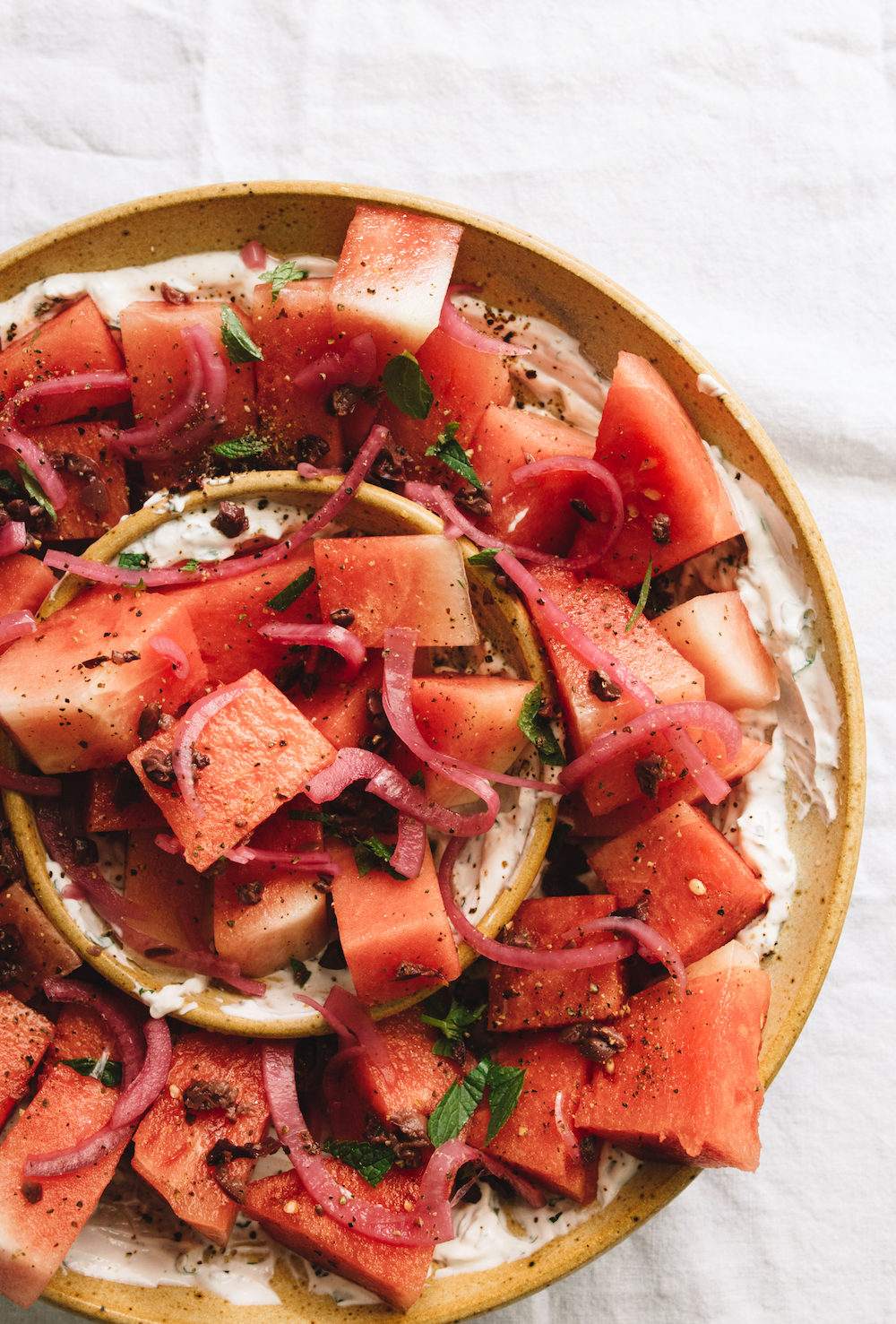 Watermelon Salad with Mint Yogurt & Pickled Red Onions