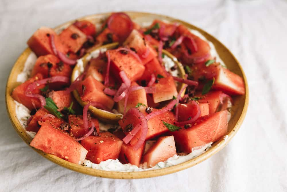 Watermelon Salad with Mint and Yogurt