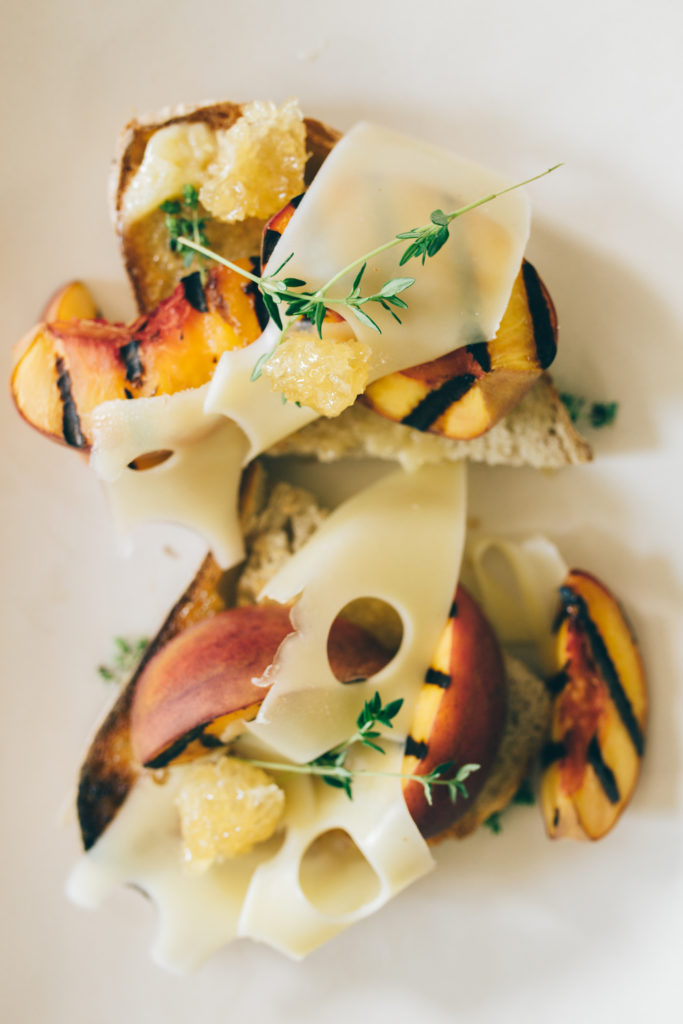 grilled peach crostini with honey butter and thyme recipe