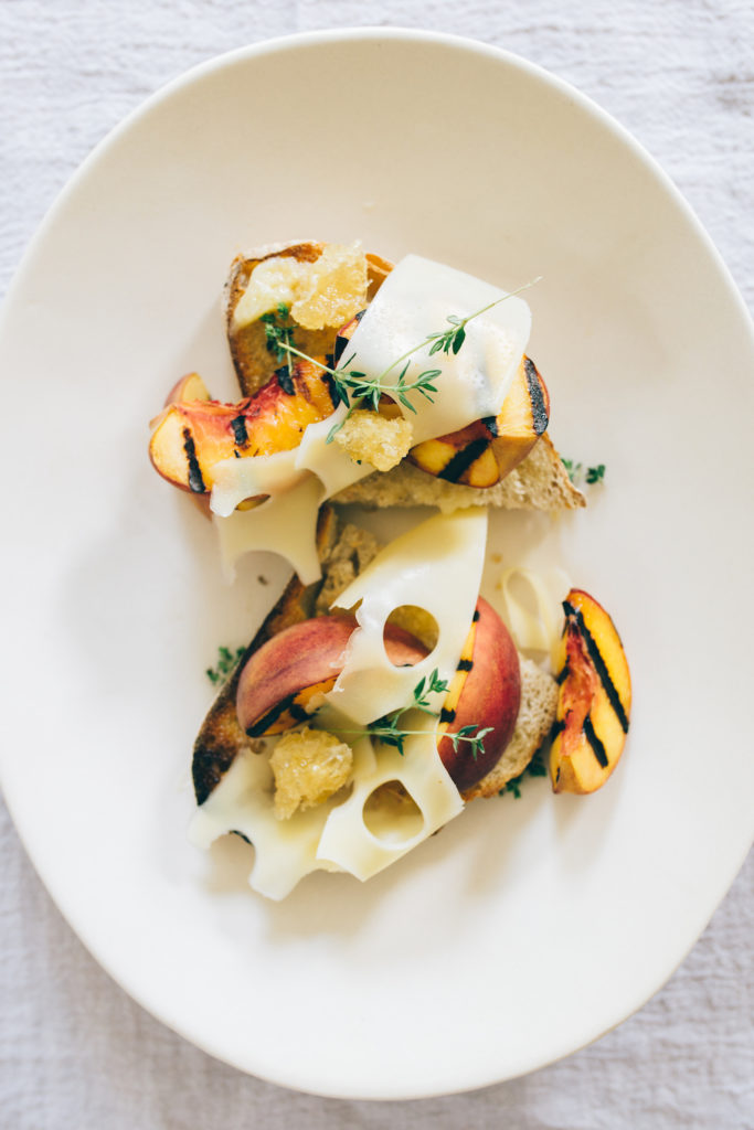 grilled peach crostini with honey butter and thyme recipe -5