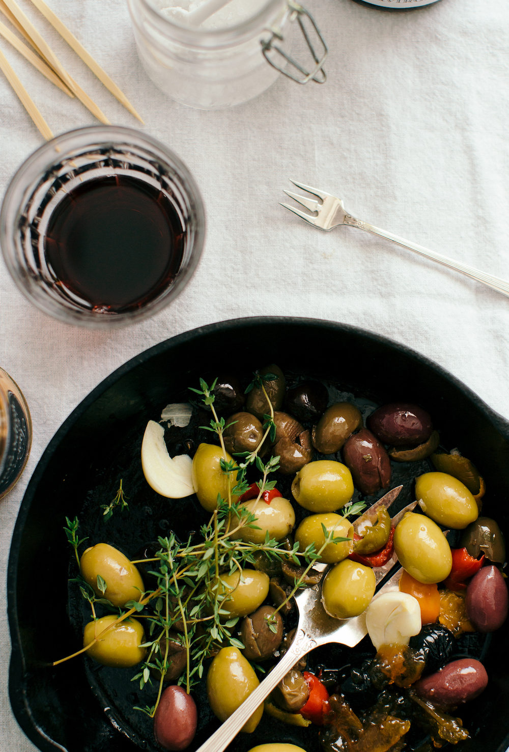 Warm Olives with Orange Marmalade, Thyme & Garlic