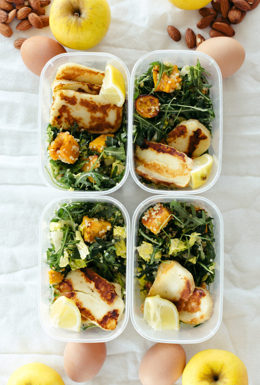 Meal-Prep Sweet Potato, Quinoa, Greens, & Halloumi (Bowl Option)