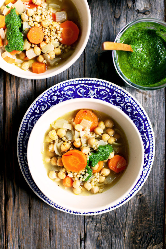 chickpea soup recipe with sorghum and mint pesto