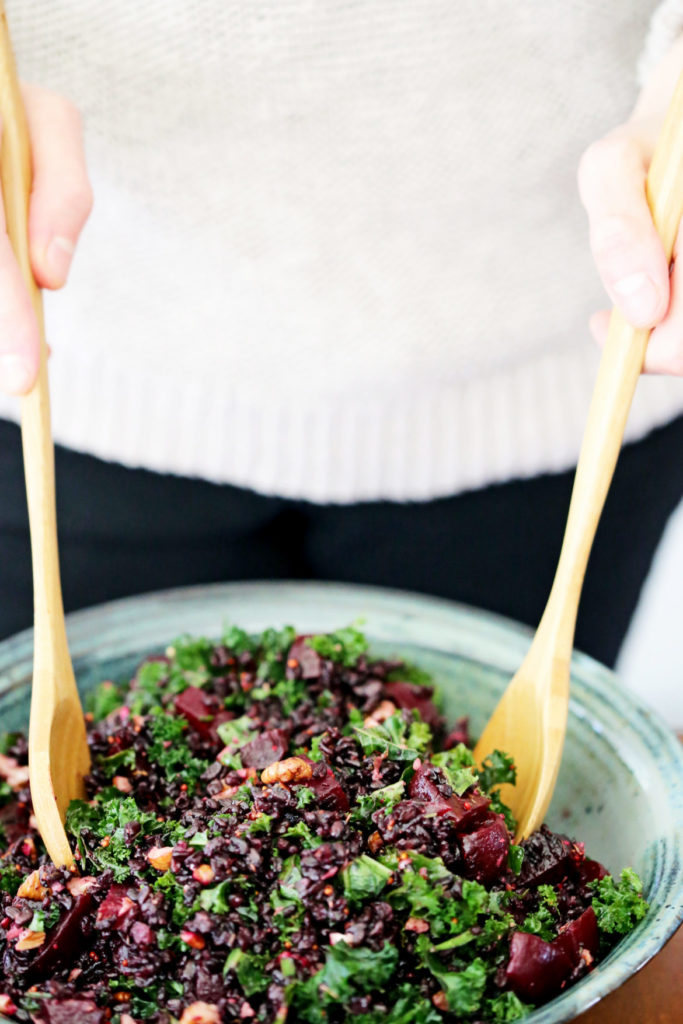 healthy kale salad recipe with roasted beets