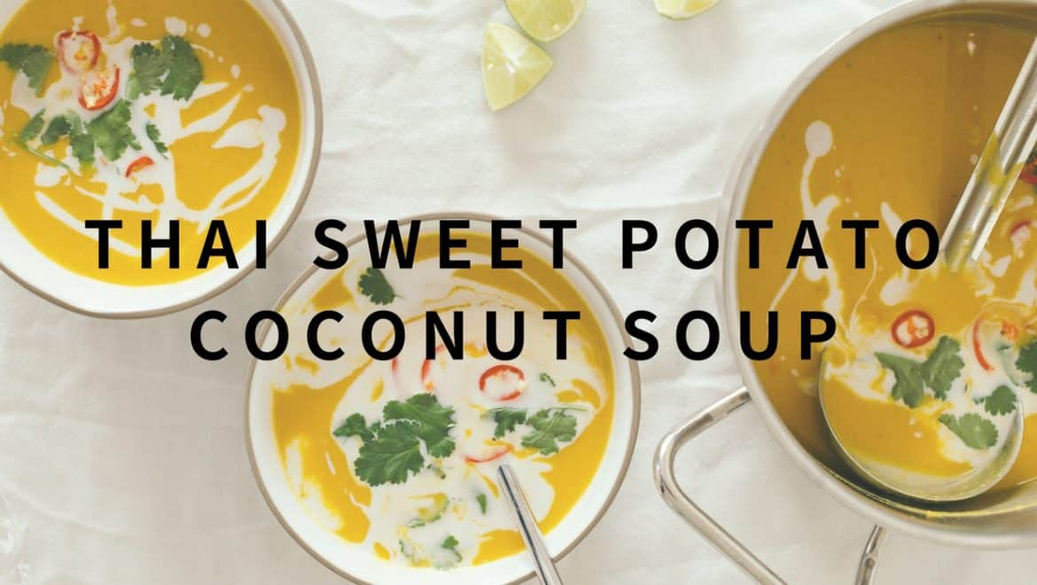 thai sweet potato coconut milk soup with lime