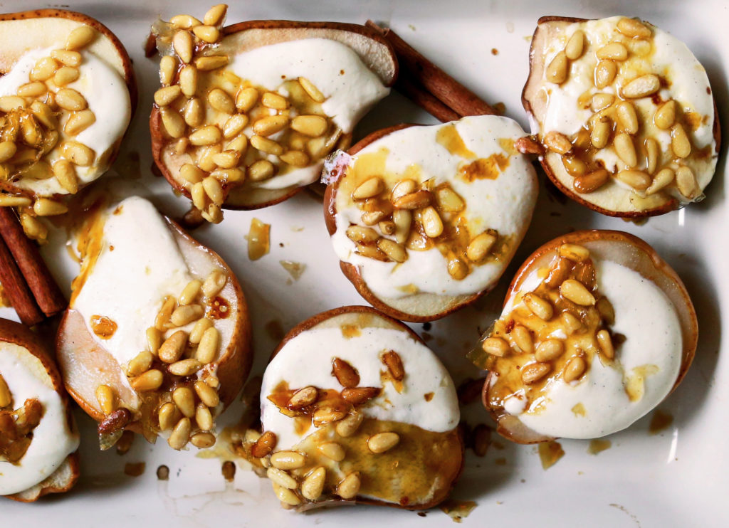 Roasted Pears with Goat Cheese and Maple Pine Nut Brittle Gluten Free
